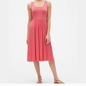 Gap Coral Pink Tank Fit & Flare Midi Dress Sz S